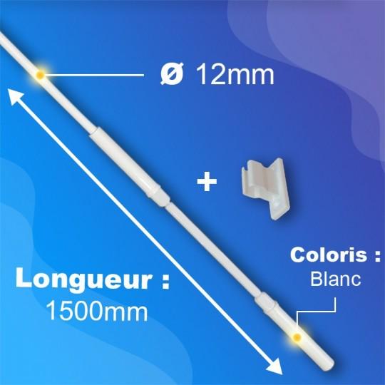 Tringle + Manivelle Blanche - Ø12mm - Longueur 1500mm -...
