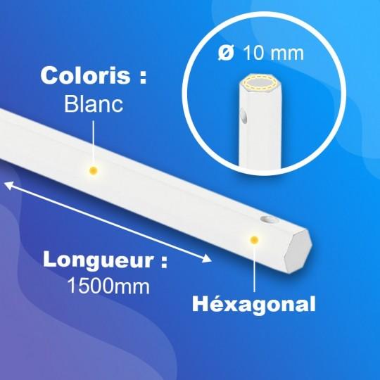 Tringle acier plein gainé PVC - Blanc - Hexa 10mm -...