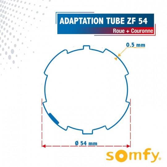 Roue + Couronne pour tube ZF 54 pour Moteurs Somfy Ø50mm