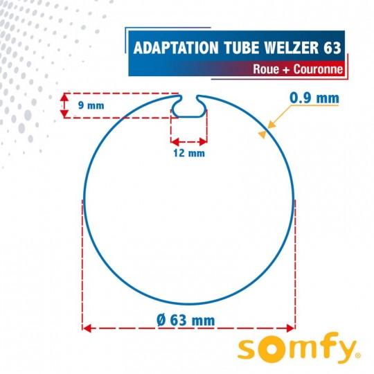 Roue + Couronne pour tube Welzer 63 pour Moteurs Somfy Ø50mm