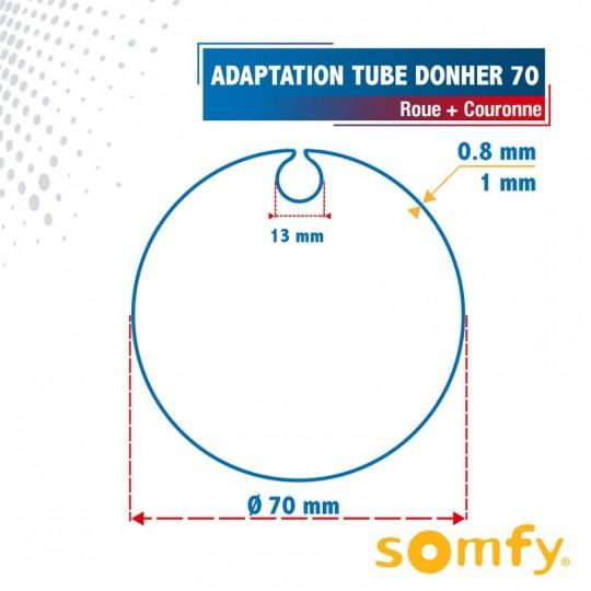 Roue + Couronne pour tube Donher 70 pour Moteurs Somfy Ø50mm