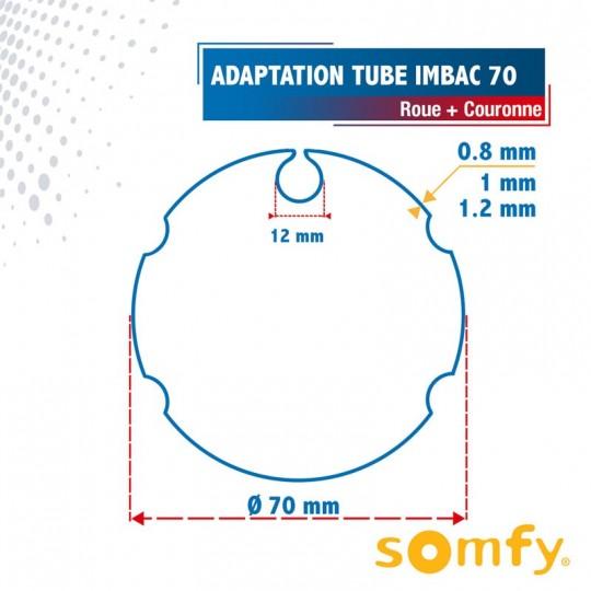 Roue + Couronne pour tube Imbac 70 pour Moteurs Somfy Ø50mm