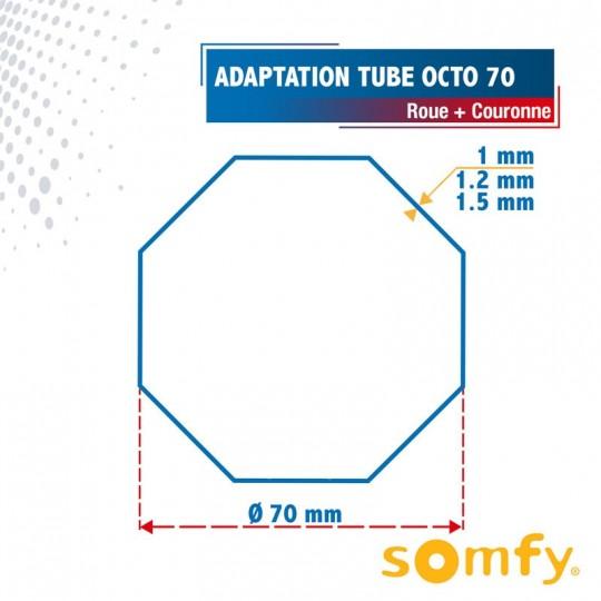 Roue + Couronne pour tube Octo 70 pour Moteurs Somfy Ø50mm