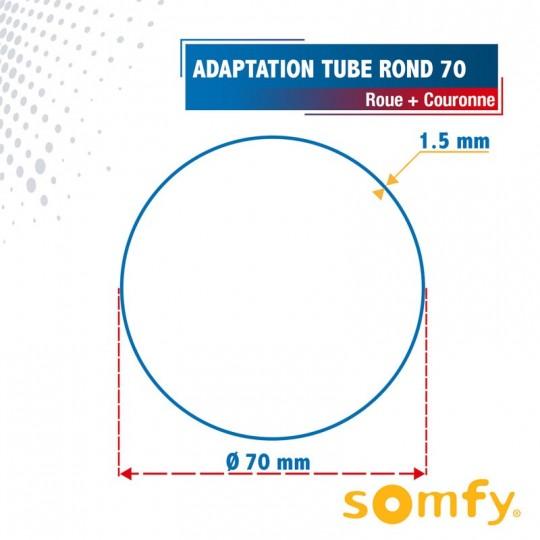 Roue + Couronne pour tube Rond 70 pour Moteurs Somfy Ø50mm