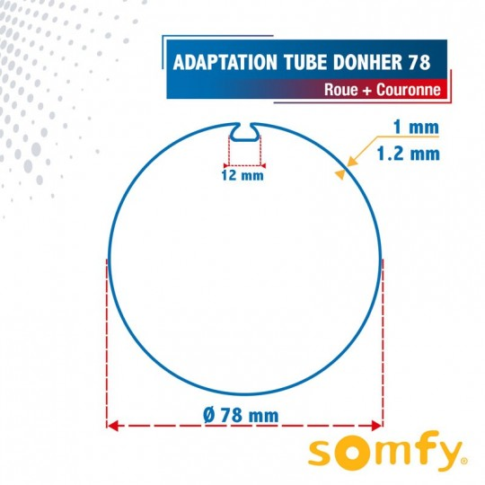 Roue + Couronne pour tube Donher 78 pour Moteurs Somfy Ø50mm