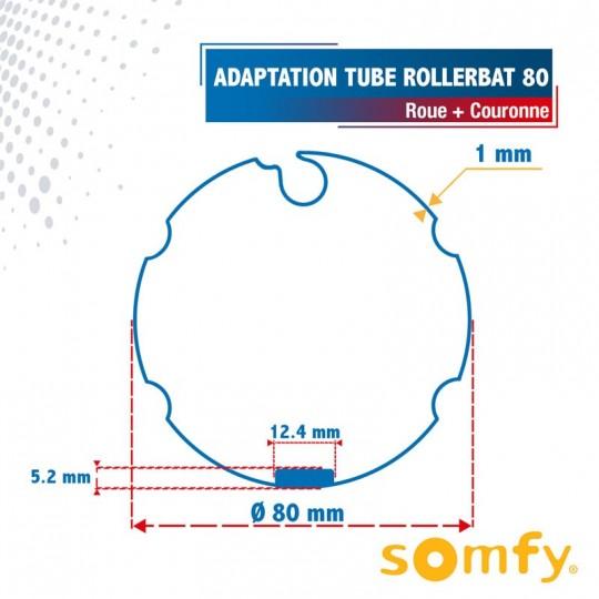 Roue + Couronne pour tube Rollerbat 80 pour Moteurs Somfy...